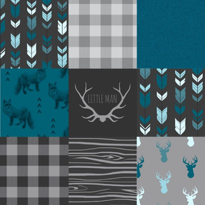 Wholecloth Quilt - Fox and Deer in teal, gray, and black with plaid and arrows