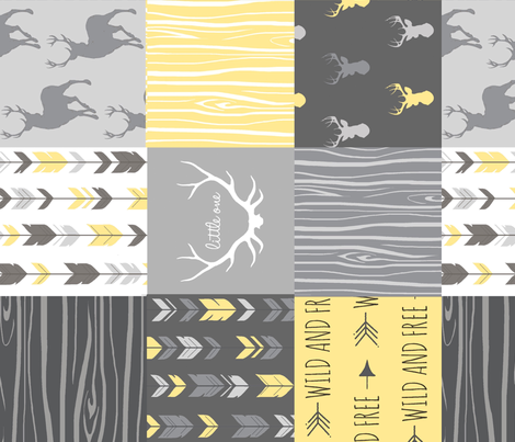Patchwork Deer in yellow and greys - Rotated - Cheater Quilt - Woodland Baby - Gender Neutral fabric by sugarpinedesign on Spoonflower - custom fabric