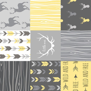 Patchwork Deer in yellow and greys - Rotated - Cheater Quilt - Woodland Baby - Gender Neutral