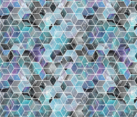 Blue Watercolour Space Hexagons fabric by emeryallardsmith on Spoonflower - custom fabric