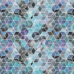 Blue Watercolour Space Hexagons