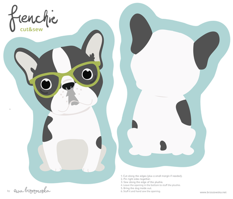 Frenchie - with green glasses cut and sew plushie fabric by ewa_brzozowska on Spoonflower - custom fabric
