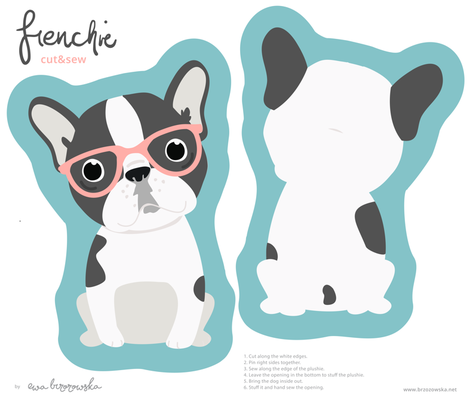 Frenchie - with pink glasses cut and sew plushie fabric by ewa_brzozowska on Spoonflower - custom fabric
