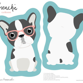 Frenchie - with pink glasses cut and sew plushie
