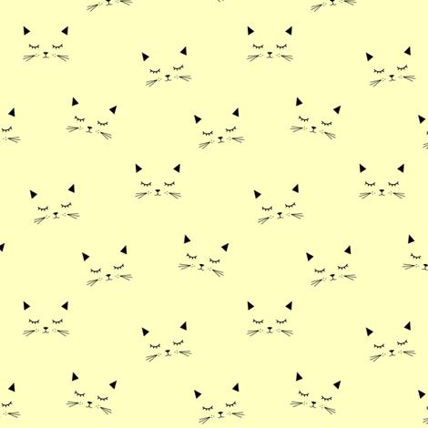 Cats  Yellow (small) fabric by kimsa on Spoonflower - custom fabric