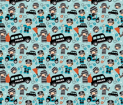 Thiefs cobs and robbers police theme Small  fabric by littlesmilemakers on Spoonflower - custom fabric