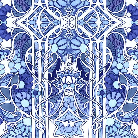 Doing the Art Nouveau Paisley Garden Twist Blues fabric by edsel2084 on Spoonflower - custom fabric