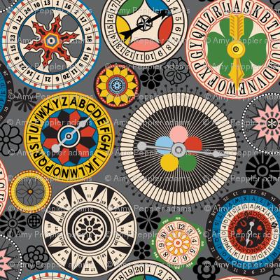 Wheels of Wisdom* (Multi on Pepper Pot) || spinner fortune teller luck shamrock numbers typography mandala geometric star