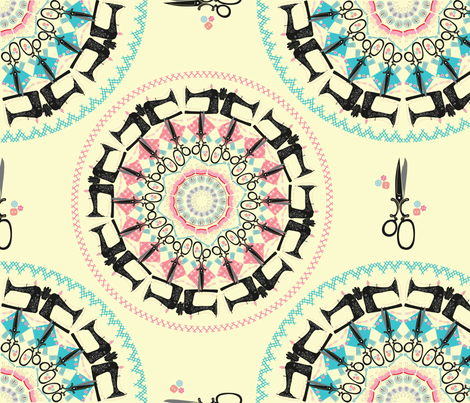 Mandala_Pink-and-Blue_2700 fabric by kfrogb on Spoonflower - custom fabric