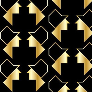 Art Deco and Tangram Inspired Faces with Black Hats