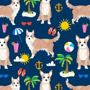 portuguese podengo pequeno dog fabric summer beach design - navy