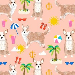 portuguese podengo pequeno dog fabric summer beach design - blush/peach