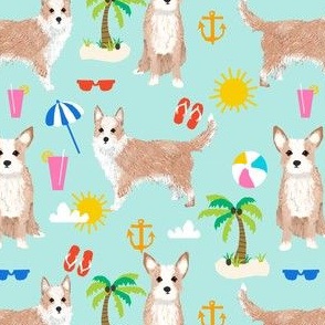 portuguese podengo pequeno dog fabric summer beach design - light blue