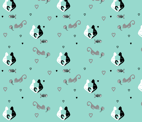 Love Cats in Teal fabric by geekygamergirl on Spoonflower - custom fabric