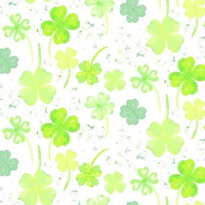 Irish Four leaf Clover St. Patrick's Day Watercolo_Miss Chiff Designs
