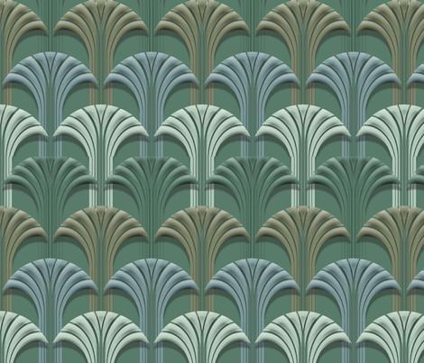 Deco Fan Forest Deep fabric by pixelblender on Spoonflower - custom fabric
