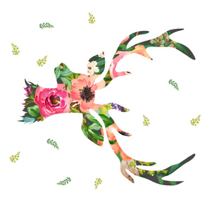 """36""""x36"""" Deer Floral"""