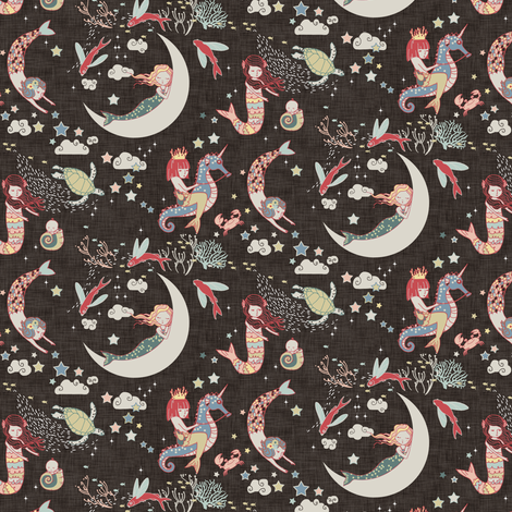 Mermaid Lullaby MICRO (black linen) fabric by nouveau_bohemian on Spoonflower - custom fabric