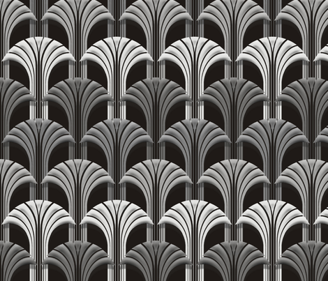 Deco Fan Mono Black fabric by pixelblender on Spoonflower - custom fabric