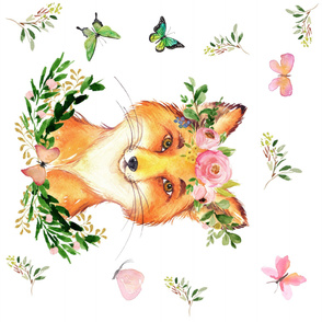 """36""""X36"""" / WOODLAND FOX IN THE SPRING / WHITE / 90 DEGREES"""