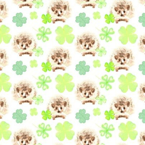 Watercolor Hedgehog Four Leaf Clover Irish St. Patrick's Day_Miss Chiff Designs