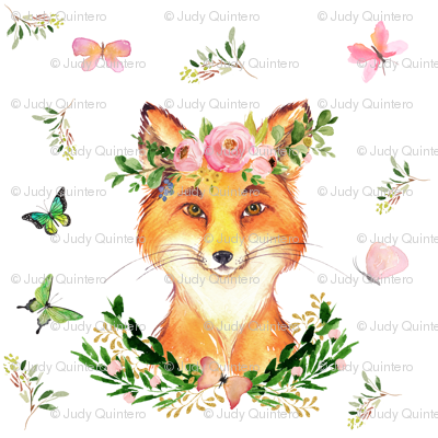"8"" Woodland Fox in the Spring / White"
