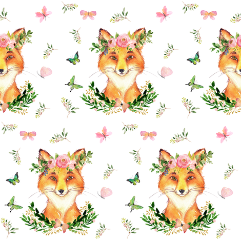 """4"""" Woodland Fox in the Spring / White fabric by shopcabin on Spoonflower - custom fabric"""