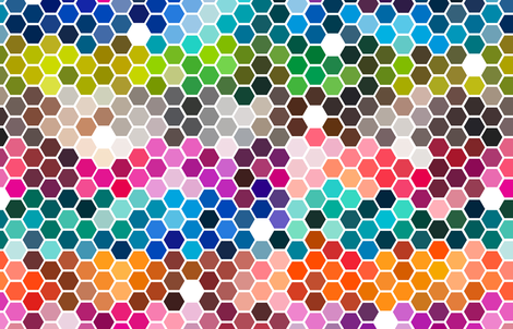 color chart hexagons fabric by clothcraft on Spoonflower - custom fabric