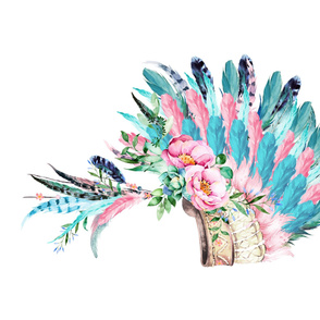 "42""X36""  AQUA PINK HEADDRESS"