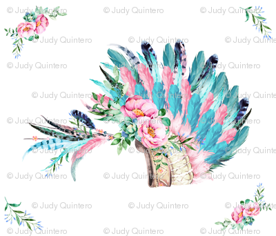 "42""X36""  AQUA PINK HEADDRESS WITH CORNER FLORALS"