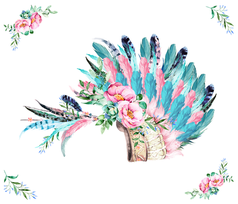 "42""X36""  AQUA PINK HEADDRESS WITH CORNER FLORALS fabric by shopcabin on Spoonflower - custom fabric"