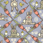 Easter Bunnies & Carrots - Lavender