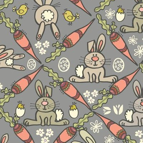 Easter Bunnies & Carrots - Grey