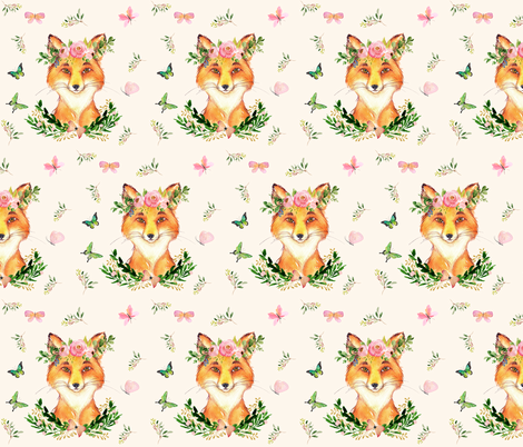 "6"" WOODLAND FOX / IVORY fabric by shopcabin on Spoonflower - custom fabric"