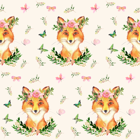 "4"" WOODLAND FOX / IVORY fabric by shopcabin on Spoonflower - custom fabric"