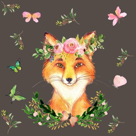 "8"" WOODLAND FOX / BROWN fabric by shopcabin on Spoonflower - custom fabric"