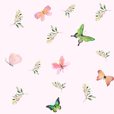 "8"" 8"" WOODLAND BUTTERFLIES / PINK fabric by shopcabin on Spoonflower - custom fabric"