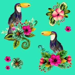 """8"""" FLORAL TOUCAN / BRIGHT GREEN"""