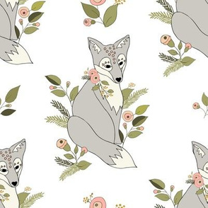 Flower Fox Silver -  White