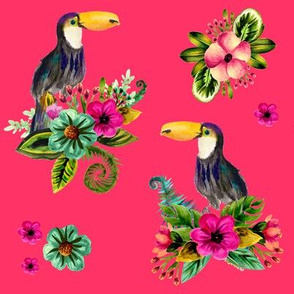 """8"""" FLORAL TOUCAN / BRIGHT PINK"""
