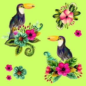 FLORAL TOUCAN / BRIGHT GREEN