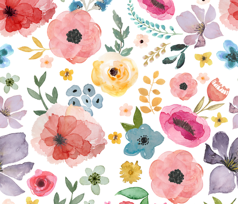 """21"""" FLORAL FIESTA /  WHITE fabric by shopcabin on Spoonflower - custom fabric"""