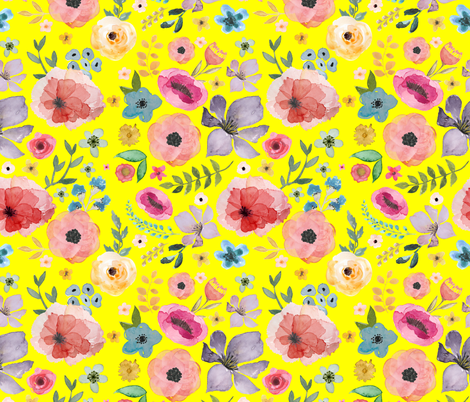 "21"" FLORAL FIESTA / BRIGHT YELLOW fabric by shopcabin on Spoonflower - custom fabric"