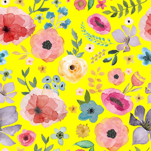 """21"""" FLORAL FIESTA / BRIGHT YELLOW"""