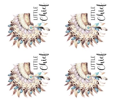 4 TO 1 YARD / LITTLE CHIEF / TAN & AQUA HEADDRESS fabric by shopcabin on Spoonflower - custom fabric