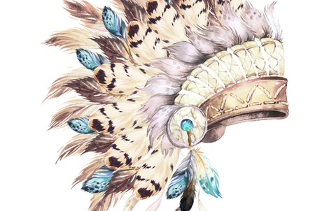 "56""x72"" TAN & AQUA HEADDRESS fabric by shopcabin on Spoonflower - custom fabric"