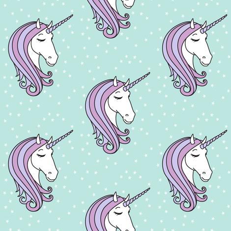 unicorns || purple on blue fabric by littlearrowdesign on Spoonflower - custom fabric