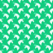 Unicorn Bust on Leprechaun Green