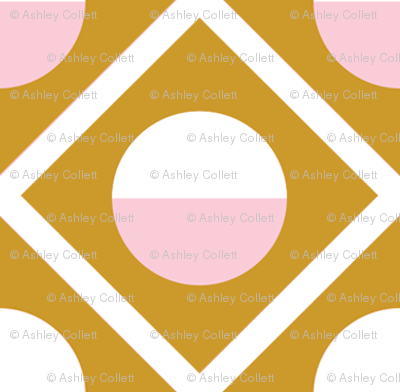 Geometric Diamond Circle Pink & Mustard