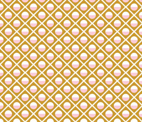 Geometric Diamond Circle Pink & Mustard fabric by acdesign on Spoonflower - custom fabric